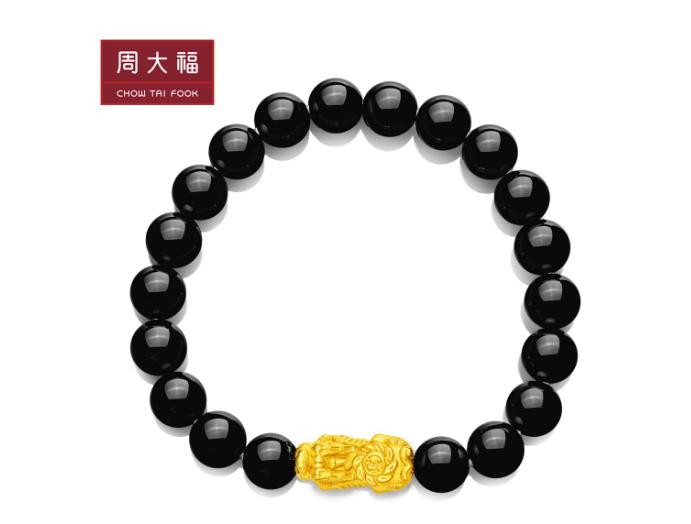 """周大福""""八方来财""""貔貅黄金手链"""