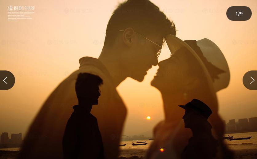 两个人在夕阳下的侧影