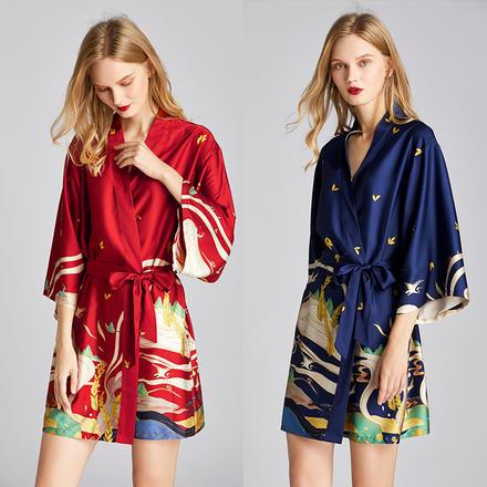 异域风情 敦煌壁画丝绸印花睡袍晨袍