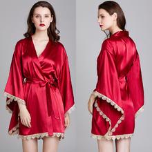 古典风 中式宽大袍袖遮肉显瘦丝绸睡袍晨袍