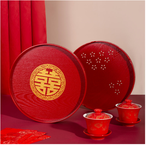 紅色中式敬茶托盤