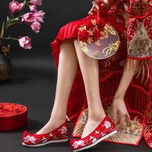 荷塘月色翘头履汉服鞋老北京布鞋内增高中式婚鞋