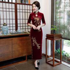 中老年冬季旗袍裙图片