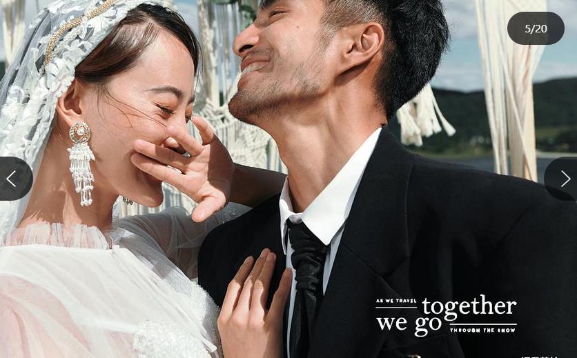 新郎新娘侧身婚纱照