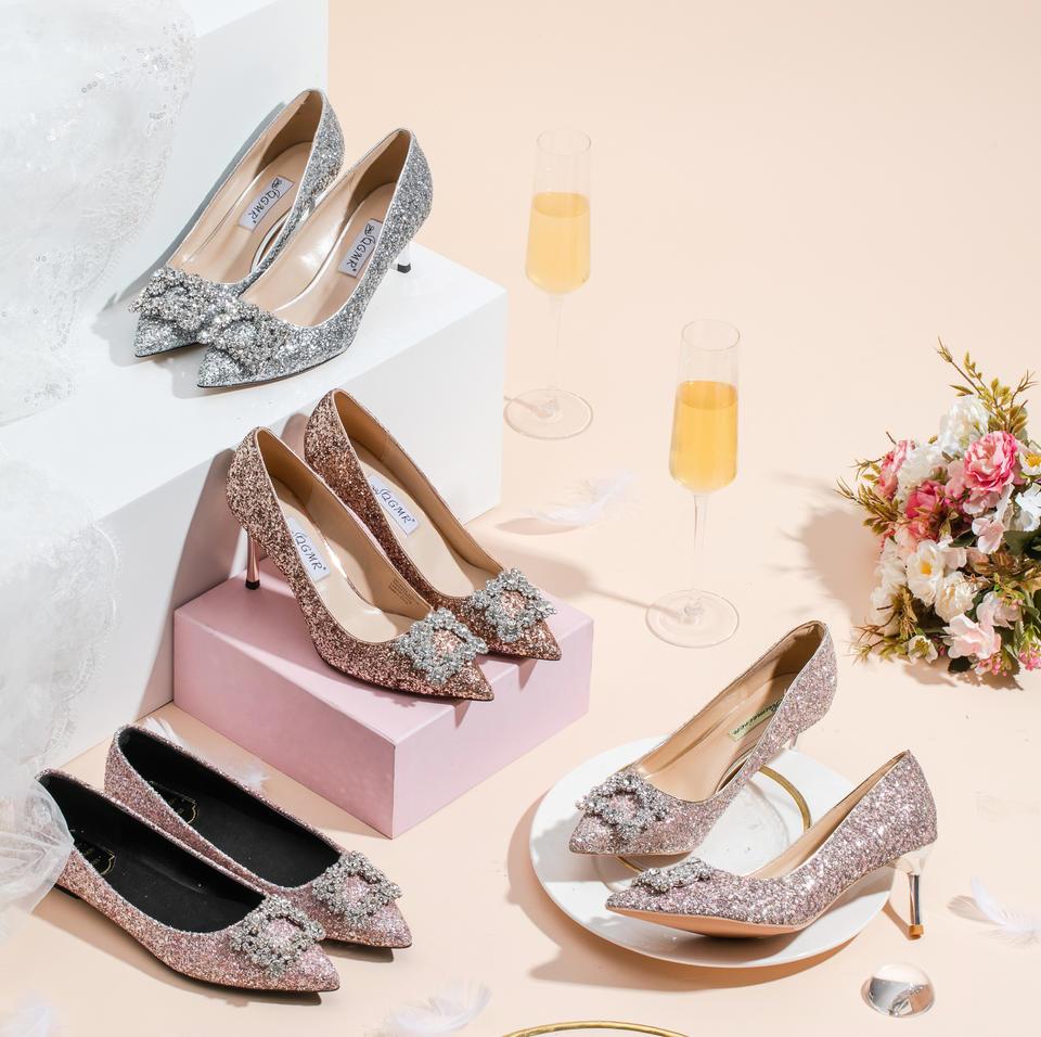 多种颜色 水钻方扣水晶亮片高跟鞋