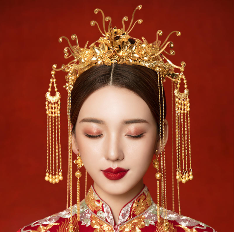 中式婚纱头饰图片