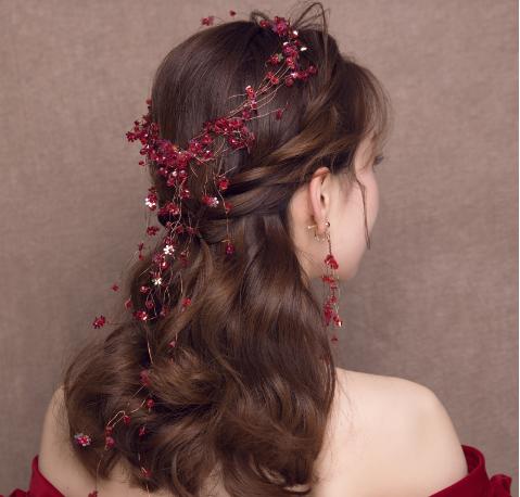 中式红色婚纱头饰图片