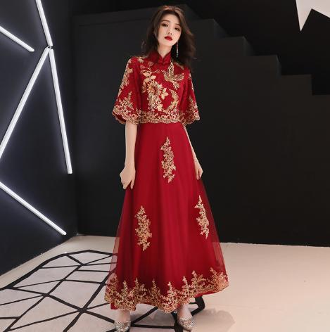 新中式旗袍款喇叭袖敬酒服