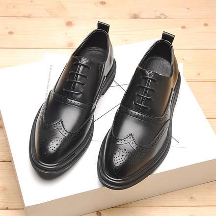 英伦风布洛克男士4cm厚底正装商务皮鞋