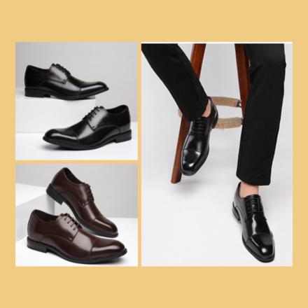 【预售】真皮布洛克尖头含内增高共6cm男士皮鞋