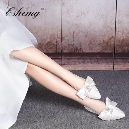 法式浪漫唯美白色蕾丝绸缎丝带孕妇新娘鞋婚纱鞋