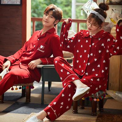 春秋季韩版全棉爱心格子情侣喜庆大红色睡衣家居服套装