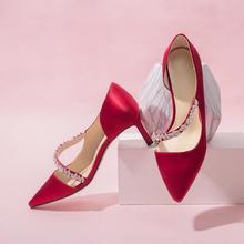 2色可选 水钻绑带缎面防掉根细跟婚鞋