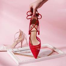 仙女系列 3色可选蕾丝网纱绑带细跟婚鞋