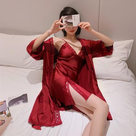 仿真丝性感蕾丝薄款结婚吊带睡袍晨袍