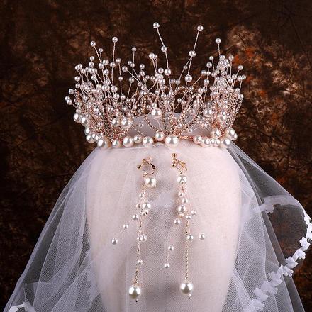 欧式手工打造珍珠结婚头饰两件套
