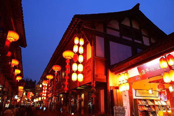 四川锦里古街夜景