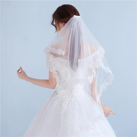 白色亮片花边短款双层发梳新娘头纱