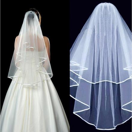 简约双层缎带包边插梳新娘结婚头纱
