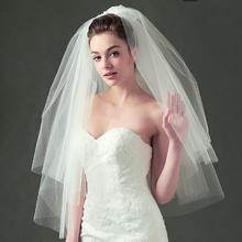 韩式短款双层带发梳造型蓬松硬网头纱