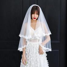 新款软网蕾丝花边头纱双层插梳短款头纱