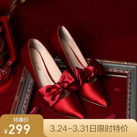 少女心蕾丝蝴蝶结红色缎面礼服高跟婚鞋