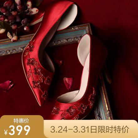 中式礼服玫瑰花朵刺绣红色缎面高跟婚鞋