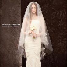欧式新款车骨蕾丝双层带插梳纯白色短款头纱