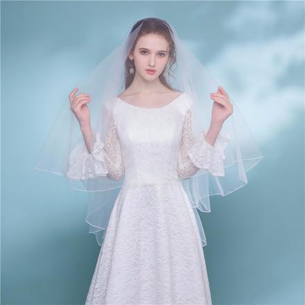 单层拷边锁边简约大气新娘头纱
