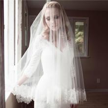新款欧式简约蕾丝边软网新娘头纱