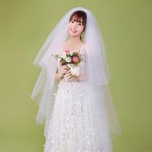 新款优质加密硬网双层发梳新娘头纱