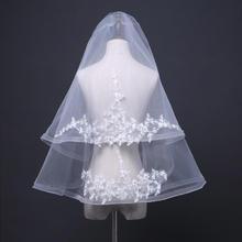 双层带发梳短款车骨弹力网新娘头纱