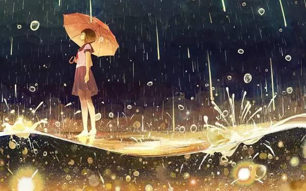 女生在雨中撑伞站立
