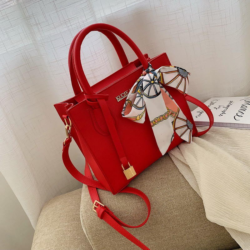 蝴蝶结丝巾锁扣红色小方包