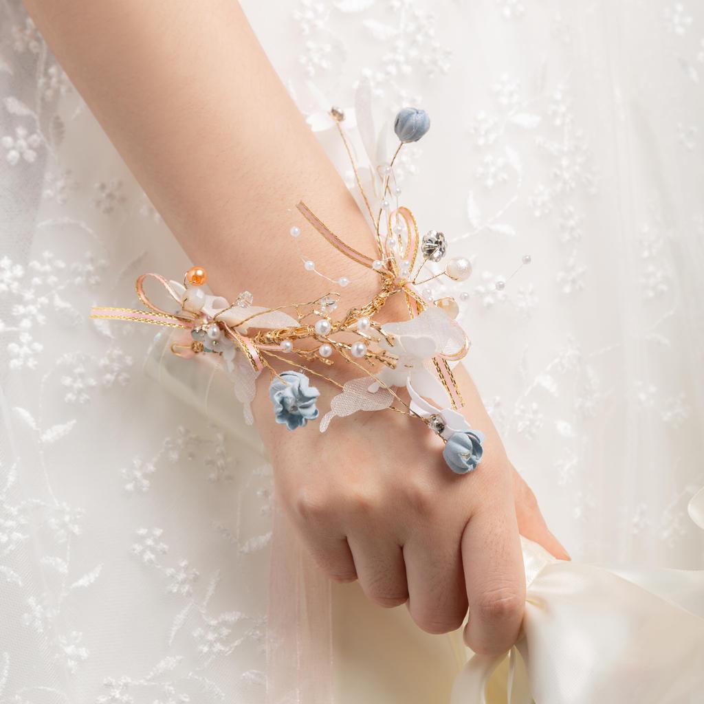 蝶与蓝风铃结婚手腕花