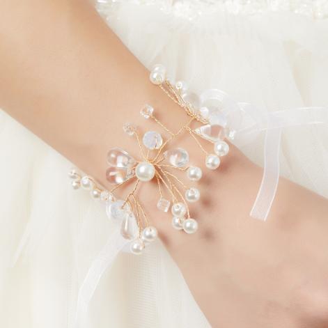白色水晶枝新娘手腕花