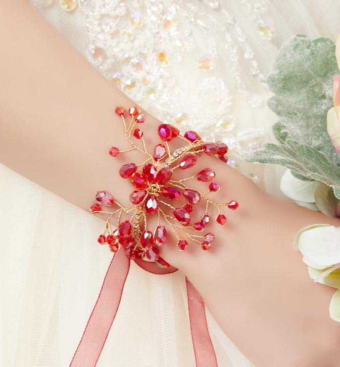 蝶与水晶唯美新娘手腕花