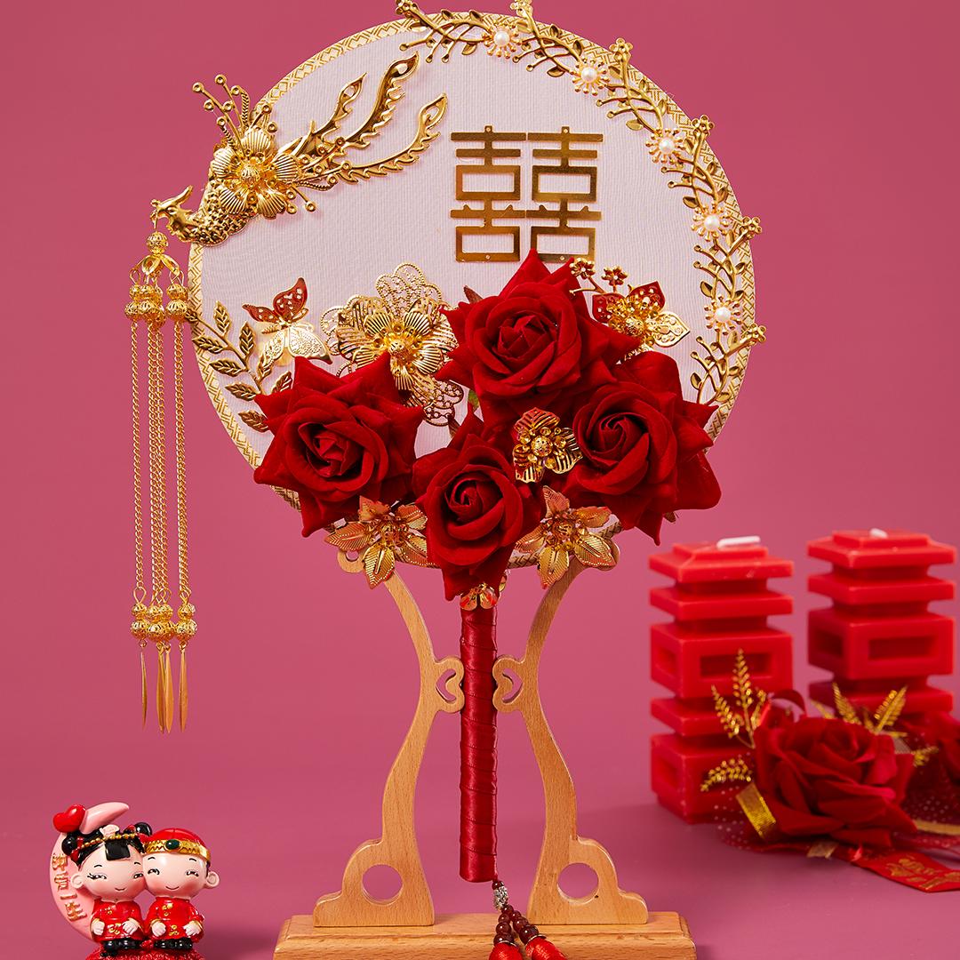 金凤来仪新娘团扇