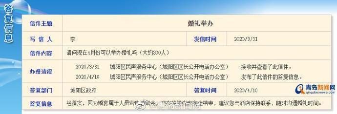 青岛市城阳区政府在青岛政务网回复网友