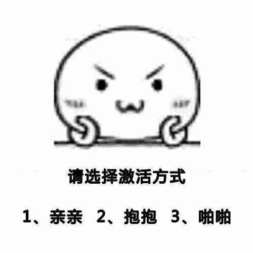 请选择激活方式:1、亲亲;2、抱抱;3、啪啪