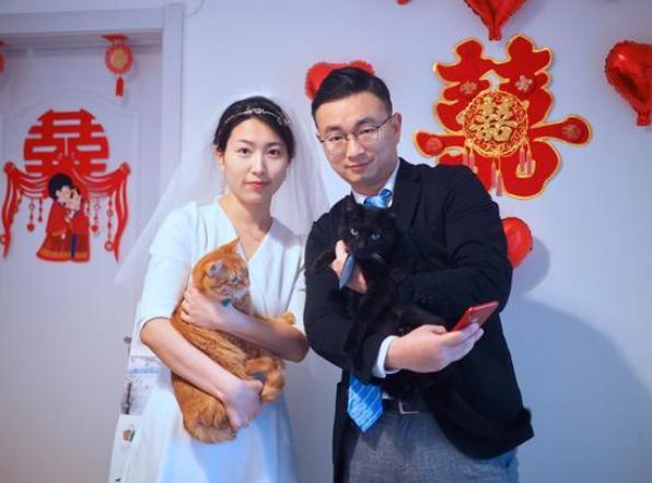 新人在家抱着猫办云婚礼