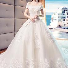 法式公主超仙梦幻一字肩婚纱