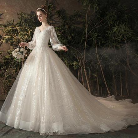 法式梦幻孕妇高腰遮孕肚婚纱