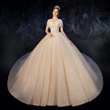 法式梦幻奢华超仙一字肩婚纱•送三件套