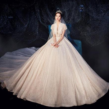 法式气质星空超仙梦幻显瘦深V婚纱•送三件套