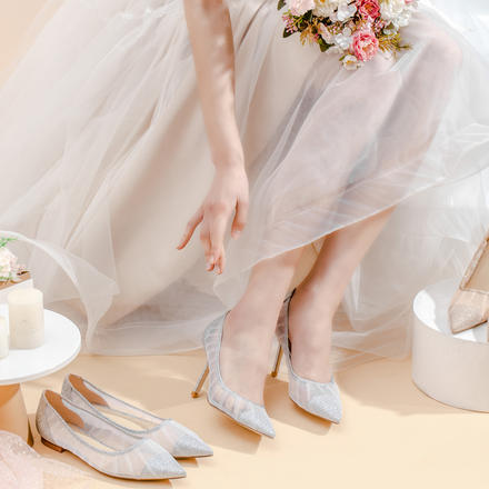 多种跟高 轻奢仙女风漫天星辰网纱细闪婚鞋