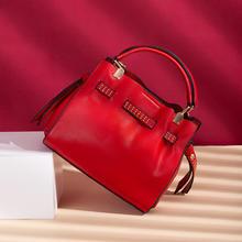 【下单赠丝巾】铆钉皮带收缩红色新娘包斜挎包