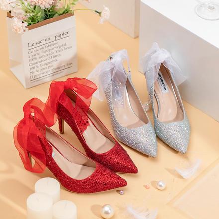 《好先生》明星同款公主范满钻丝带水晶高跟新娘婚纱婚鞋