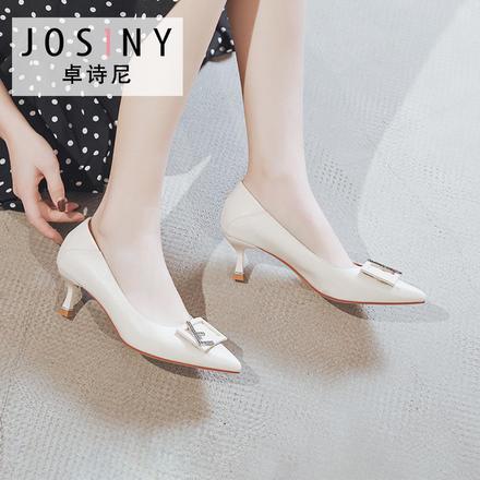 卓诗尼2020新款百搭浅口小皮鞋字母方扣单鞋