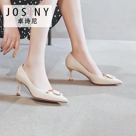 卓诗尼2020新款尖头细高跟工装鞋时尚圆形扣饰单鞋